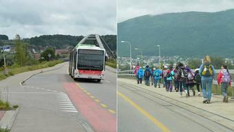 Der «Bürenbus» bei der Haltestelle Brücke. Schiffspassagiere erwischen ihn in der Regel nicht und müssen in die Stadt laufen.