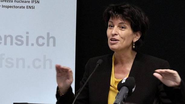 Bundesrätin Doris Leuthard spricht zur Eröffnung des Forums der Atomaufsichtsbehörde ENSI in Brugg
