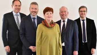 Der bisherige Oltner Stadtrat (von links) mit Peter Schafer (SP), Thomas Marbet (SP), Iris Schelbert (Grüne), Martin Wey (CVP) und Benvenuto Savoldelli (FDP).