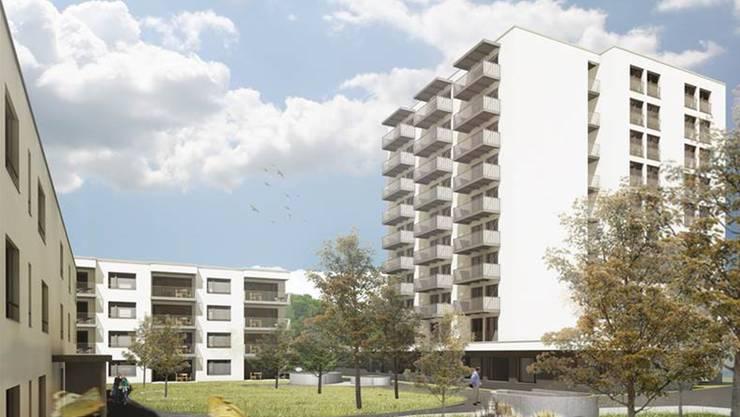 Visualisierung der Neubauten: 105 Wohnungen entstehen insgesamt im Umfeld des Gesundheitszentrums Region Brugg.