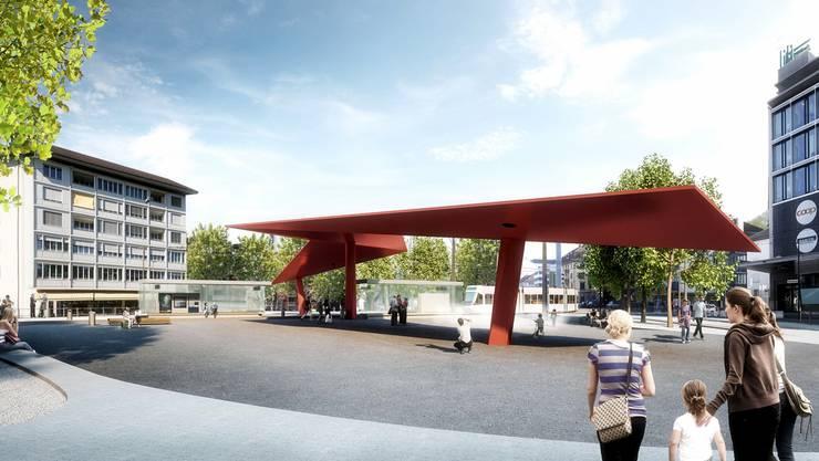 So soll der Schlieremer Stadtplatz nach seinem Umbau aussehen. In der Mitte das geplante Flügeldach. zvg/raumgleiter gmbh