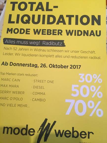 Auch in Österreich wird mit diesem Flyer für die Liquidation geworben.