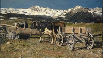 Giovanni Segantini: An der Tränke (Kühe im Joch), 1888, Öl auf Leinwand, 84.1 x 141.2 cm.