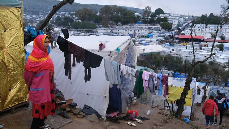 In den Flüchtlingslagern herrschen prekäre Verhältnisse. AP Fotograf: Aggelos Barai Restriktionen: Copyright 2020 The Associated Press. All rights reserved