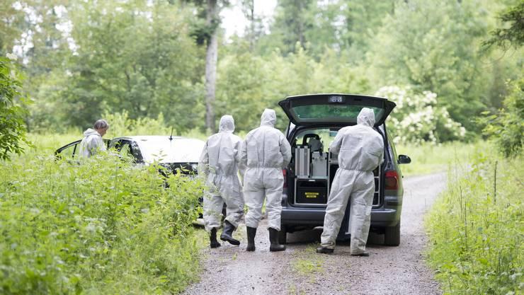 Im Wald von Fislisbach AG ist am Dienstagabend ein 18-jähriger Schweizer umgebracht worden. - Bild zeigt die Spurensicherung bei der Arbeit am Mittwochmorgen.