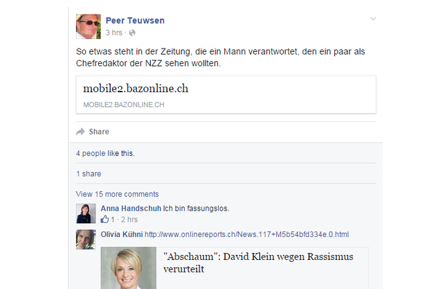 Peer Teuwsens Beitrag auf Facebook zum BaZ-Artikel.