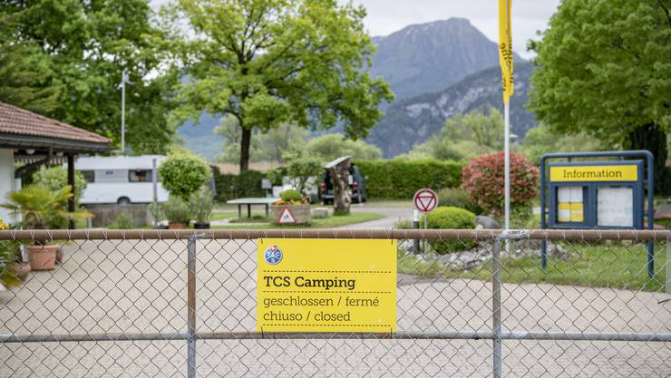 Ein geschlossener TCS-Campingplatz in Horw LU. (Bild: Urs Flüeler/Keystone, 2. Mai 2020)