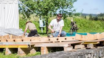 Restaurierung Wasserrad beim Schloss Hallwyl