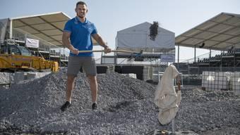 Remo Käser, Schwinger und Markenbotschafter für «Ruvido», den Recyclingbaustoff, der für die Befestigung von Zufahrtswegen und Plätzen beim kantonal-bernischen Schwingfest in Utzenstorf eingesetzt wird.