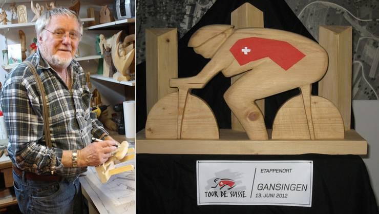 Bildhauer Traugott Erdin hat in seiner Werkstatt eine Tour-de-Suisse-Skulptur erschaffen
