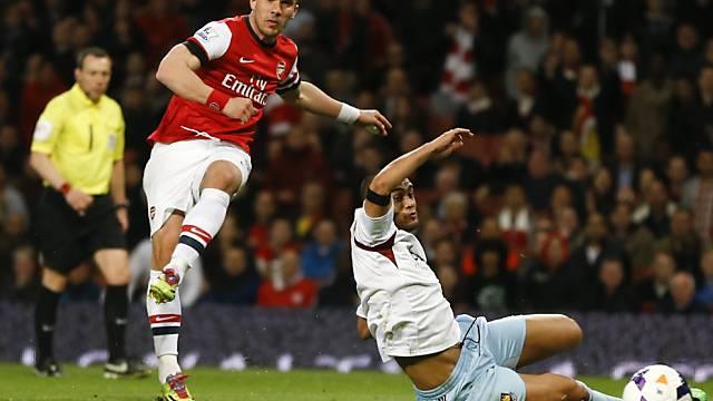Lukas Podolski traf gegen West Ham doppelt