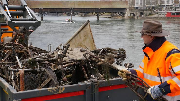 Mehrere Tonnen Abfall kamen bei der diesjährigen Aareputzete zusammen.