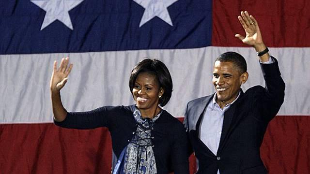 Michelle und Barack Obama bei einem Wahlkampfauftritt in Ohio