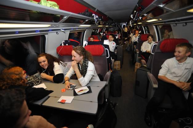 Gute Stimmung im Zug nach St. Gallen