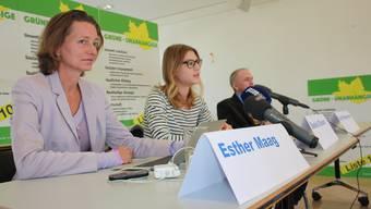 Esther Maag, Saskia Olsson und Jürg Wiedemann (v.l.) vom Vorstand der Grünen-Unabhängigen Baselland.