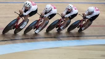 Die Schweizer Bahnradrennfahrer Stefan Bissegger, Valereb Thiebaud, Cyrille Thiery und Nico Selenati (von links) in Aktion.