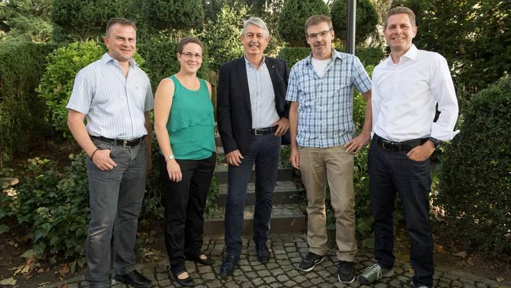 Der neu gewählte Gemeinderat (v.l.): Christoph Schott, Vanessa Kleeb, Peter Huber (Gemeindeammann), Hanspeter Zaugg (Vizeammann) und Andreas Mahler.