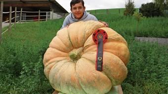 Bei seiner dritten Teilnahme an der Schweizer Meisterschaft im Kürbiswiegen knackte Andri Schreiber erstmals die 200-Kilogramm-Marke mit seiner Frucht.