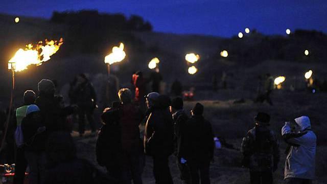 Lichterkette am Hadrianwall in Northumberland