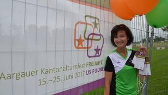 Jessica Huwyler ist nur eine der grossen Freiämter Turnfamilie, die sich schon bei der Logo-Präsentation riesig auf das Kantonalturnfest 2017 in Muri freut.