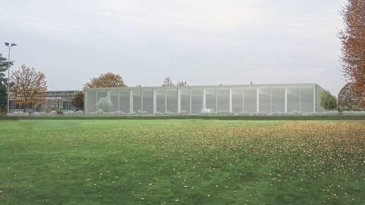 So soll die neue Turnhalle in die Umgebung eingepasst werden. zvg