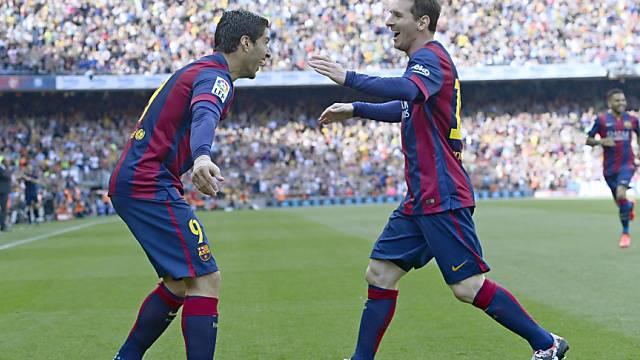 Die Barcelona-Torschützen unter sich: Suarez (links) und Messi