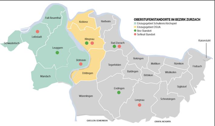 Oberstufen-Standorte im Bezirk Zurzach