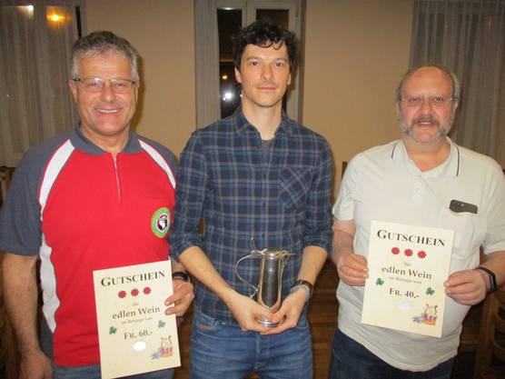 2. Platz Urs Furrer, Sieger Christof Roschi und 3. Platz Viktor Munzinger