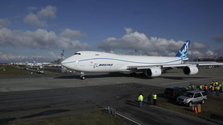 Die Boeing 747-8 vor dem Abflug
