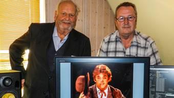 Kunsthistoriker Walter Karl Walde aus Bremgarten, Sprecher im Knie-Film (links), und der Filmautor Urs Huber.