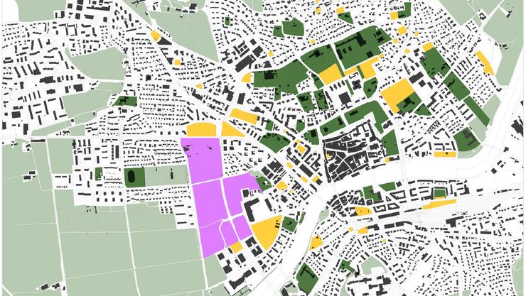Die Leerflächen (gelb) in der Stadt Solothurn entsprechen in ihrer Gesamtheit dem Weitblick-Areal im Westen (rosa). Grünanlagen sind grün markiert.