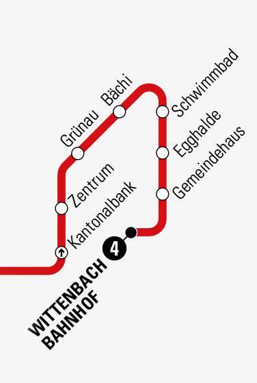 Die Schlaufe führt über das Zentrum, Schwimmbad und Gemeindehaus zum Bahnhof (Bild: Screenshot Linienplan st.gallerbus).