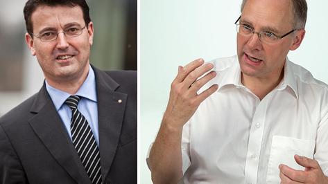 Aargauer SVP-Parteifreunde Burgherr und Knecht.