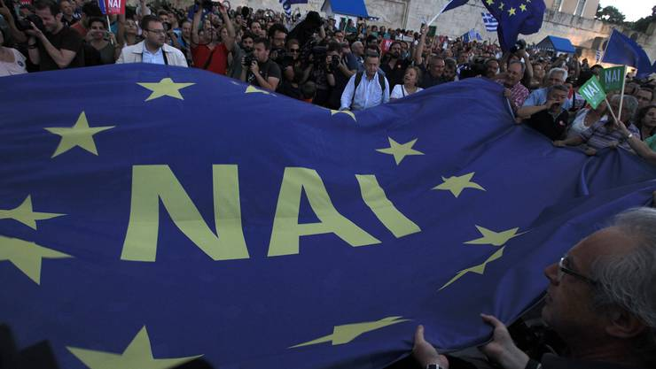Pro-Euro-Demonstranten in Athen