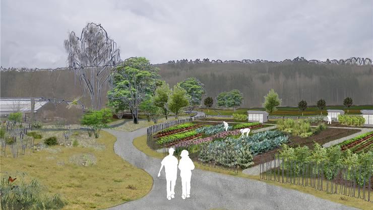Auf dem Zürcher Dunkelhölzli-Gartenareal an der Grenze zu Schlieren sollen Gemeinschafts- und Familiengärten sowie ein Park entstehen. Visualisierung zvg/Studio Vulkan Landschaftsarchitektur GmbH