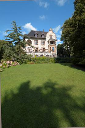 Blick durch den Park auf die Historismus-Villa.
