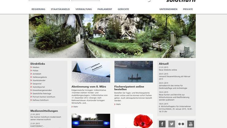 So sieht die neue Website www.so.ch aus.