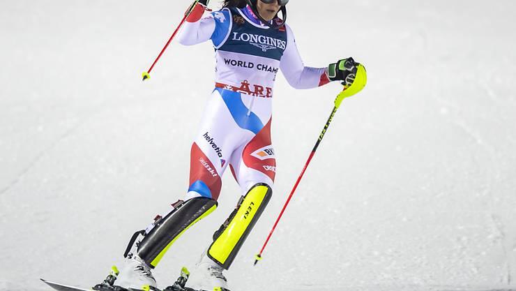 Wendy Holdener jubelt nach dem Kombinations-Slalom