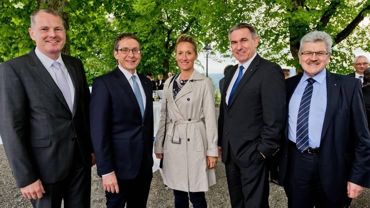 Der Aargauer Regierungsrat in corpore (v.l.): Stephan Attiger, Urs Hofmann, Susanne Hochuli, Landammann Alex Hürzeler und Roland Brogli.