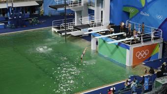 Das Becken der Wasserballer und Turmspringer bringt Farbe ins Spiel. Es hat sich von blau zu grün verfärbt. Ist Sorge um die Gesundheit der Sportler angebracht oder ist es erlaubt, zu lachen?