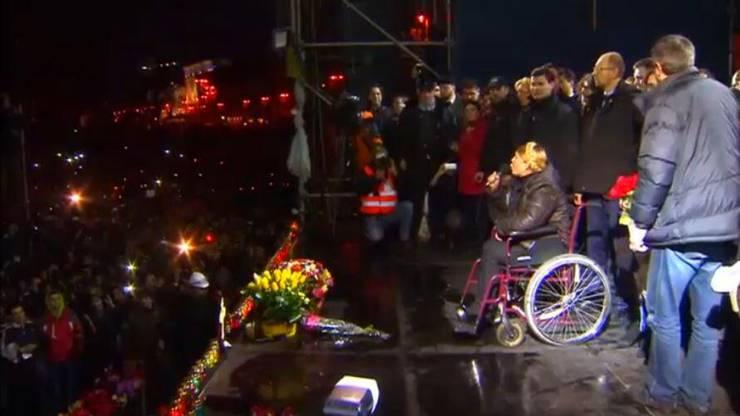 Timoschenko sitzt in einem Rollstuhl