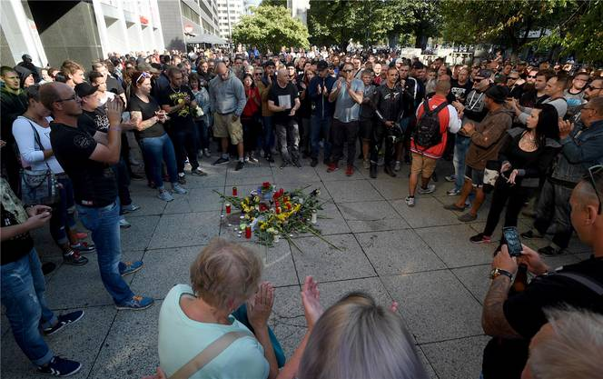 Kundgebung für das Opfer einer Messerstecherei in Chemnitz – der Auslöser für Jagdszenen auf Migranten.