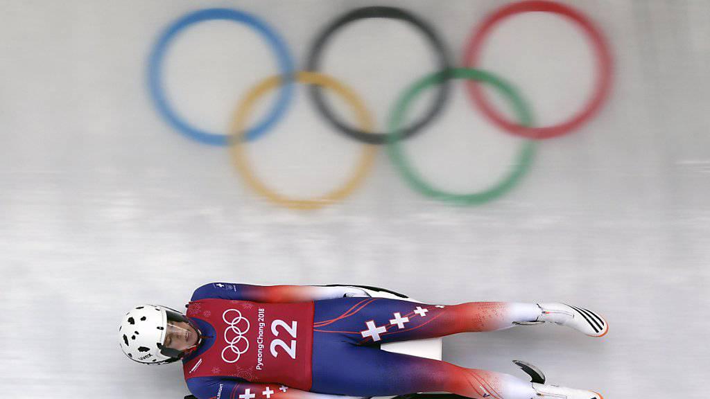 Martina Kocher trainiert im Eiskanal in Pyeongchang.