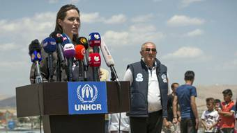 Sonderbotschafterin des Uno-Flüchtlingshilfswerks UNHCR und Hollywood-Star: Angelina Jolie vor den Medien im Nordirak.