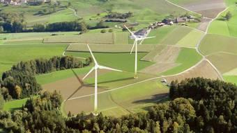 Den Windpark gibt es nur als Fotomontage und das wird so bleiben, die CKW hat das Windpark-Projekt gestoppt. zvg