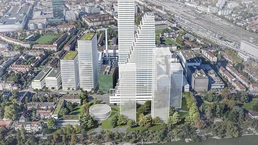 Visualisierung der angedachten Neubebauung des Südareals am Roche-Hauptsitz in Basel mit einem runden Empfangsgebäude und bis zu drei neuen Türmen in Rheinnähe.