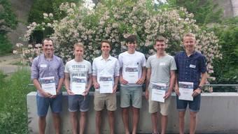 6 der insgesamt 18 ausgezeichneten Badener Sportler (v.l.): Daniel Wiederkehr,Fabian Wolf, Noé Cavallini, Tim Schilling, Eric Zimmermann und Timo Suter.