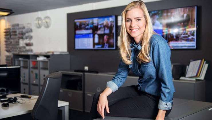 Sie erwartet ihr erstes Kind: SRF-Moderatorin Katharina Locher ist im fünften Monat schwanger. (Bild SRF)