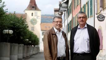 Le Landerons Gemeindepräsident Roland Spring (r.) und Gemeindeschreiber Michel Hinkel.