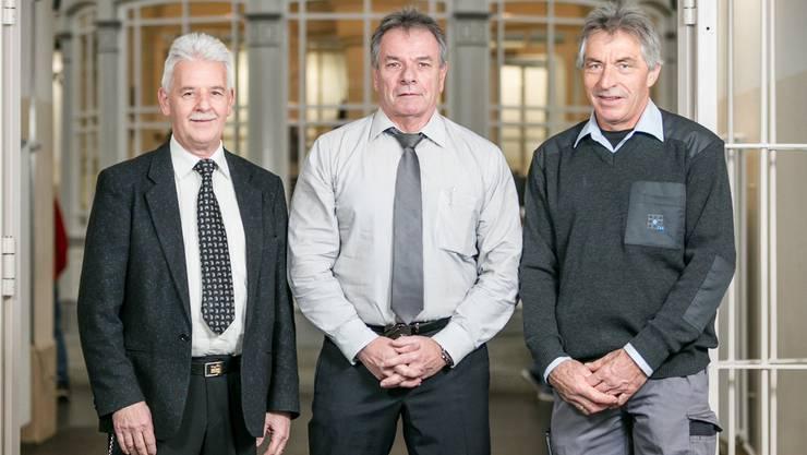 Eine Betriebstreue, die man heutzutage nur noch selten antrifft: Bruno Graber (36 Jahre), Christian Harder (37 Jahre) und Nik Rüttimann (40 Jahre) in der JVA.